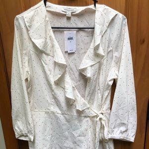 NWT banana republic white wrap shirt size 10